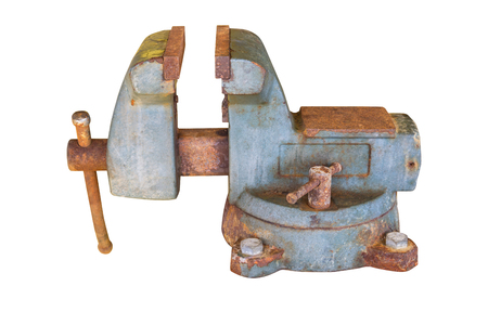 Old vise with rust isolate on white background with clipping path.