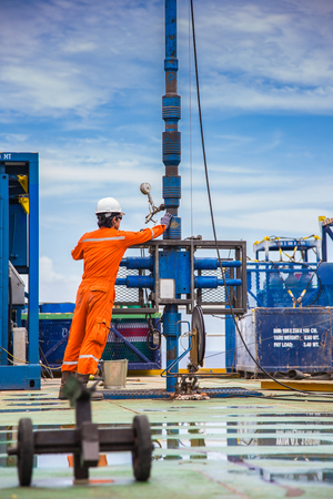 completion: Offshore oil and gas industry, worker inspect and setting up top side tools for safety first to perforation oil and gas production well.