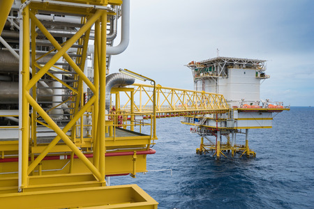 Oil and gas production platform, Oil and Gas  production and exploration business in the gulf of Thailand. Stock Photo