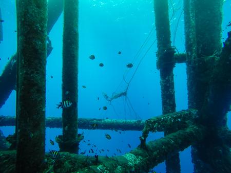 Oil and gas wellhead platform, Under water shooting show production gas tubing and platform jacket legs. Reklamní fotografie