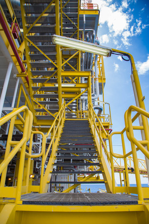 oil and gas industry: Oil and gas central processing platform at offshore, stair way to go to each deck Stock Photo