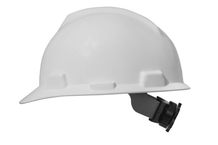 head protection: White hard hat for protect head isolate on white background with clipping path.