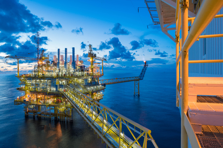 oil and gas industry: Oil and gas central processing platform in the gulf of Thailand shooting accommodation platform Stock Photo