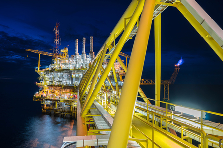 oil and gas industry: Oil and Gas central processing platform in the gulf of Thailand produced natural gas and liquid condensate for set to onshore petrochemical plant.