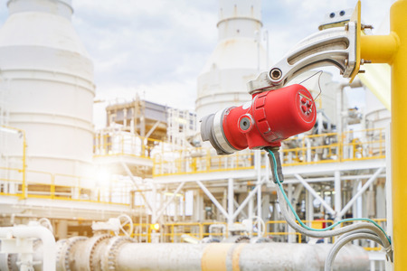 Fire and gas detection and monitoring system in hazardous area in oil and gas central processing platform to detect any of fire by detect infrared ray and sent alarm to control room. Stock Photo