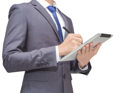 Business man holding tablet, smart phone with mouse pen, isolate background of business man for conceptual. Imagens