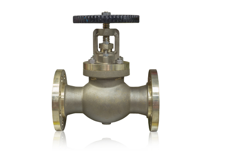 Cast brass globe valve used in oil and gas industry isolated on white background.