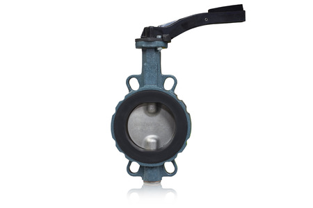 Butterfly valve type used in oil and gas industry isolated on white background. Standard-Bild