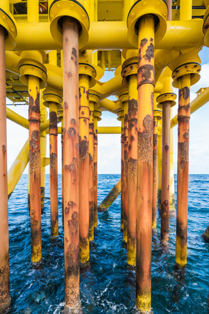 Well slot and casing of production tubing at drain deck of oil and gas wellhead remote platform, Piping protect gas tubing inside from corrode and any crash.