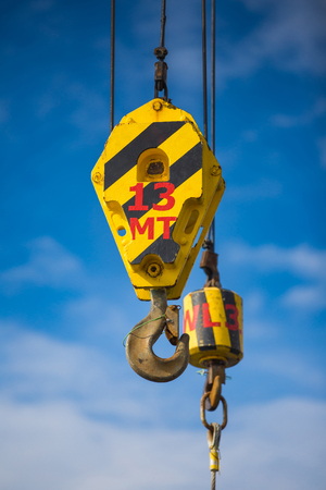 Crane hoist,wire rope sling and hook isolate on white background