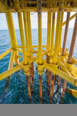 Oil and Gas production casing protector pipe at offshore wellhead remote platform.