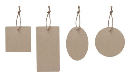 Blank price tag made frome craft paper isolate on white with clipping path