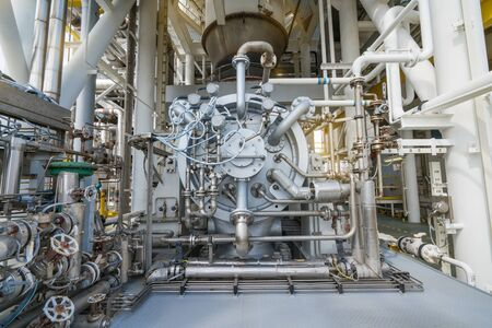 Multi stage centrifugal gas compressor radial type at offshore oil and gas central processing platform for boost up pressure before sent gases to on shore refinery. Stockfoto