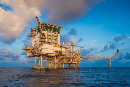 Offshore oil and gas central facility in the gulf where produce raw gas condensate and crude oil and then treat for sent to onshore refinery and petrochemical industry and liquid set to floating storage offloading.