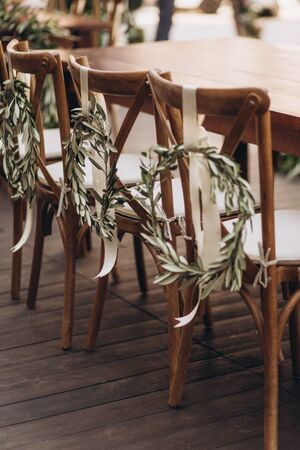 Boho wedding chair with eco decor for guests. Zdjęcie Seryjne
