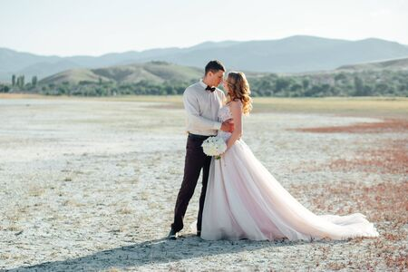 Happy newlywed couple. Beautiful bride and groom in a suit. Stock Photo - 128377127