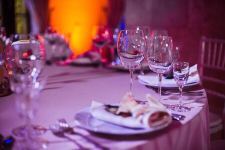 Table setting and decoration of the festive table. Stock Photo