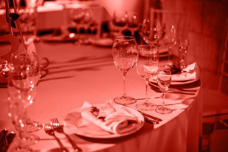 Wedding table for guests. Table setting and decoration of the festive table.-Image