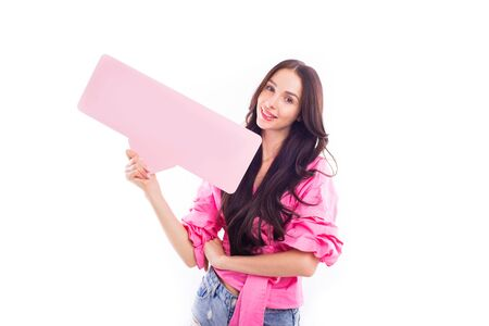Cheerful Bright Girl in pink clothes on isolated white background.