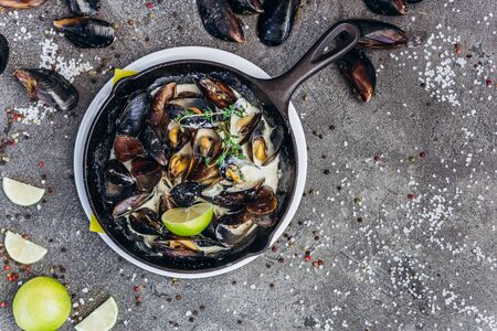Baked Mediterranean mussels with creamy lime sauce.