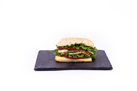 Sandwich on an isolated white background. Hand made.