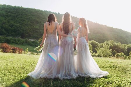 Three bridesmaids on green grass in beautiful long dresses. Banque d'images