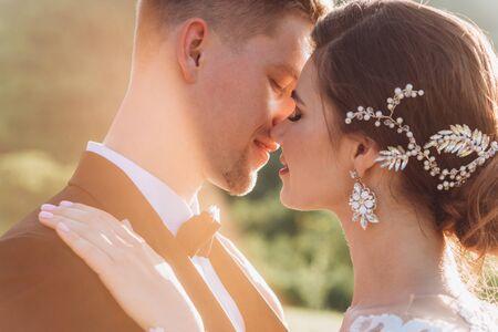 Kiss love bride and groom. Happy together Foto de archivo
