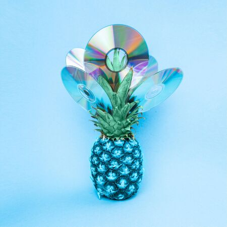 Blue pineapple on a blue background with disks. Abstract pineapple in a minimalist style.