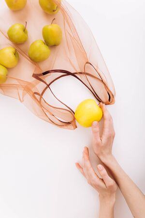 Eco packs. Eco bag with apples. Purchase without harm to nature in anti-plastic bags. Zero Waste.