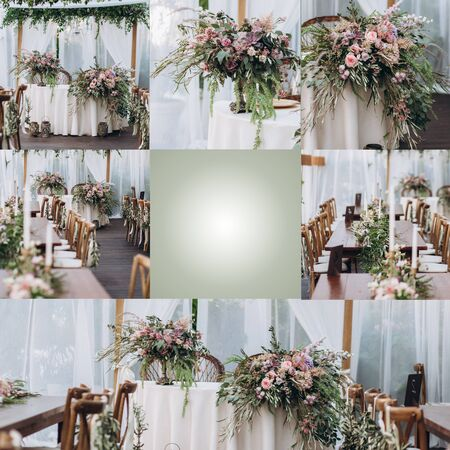 Wedding table for a newlywed banquet with eco decor and floral design in the style of boho.