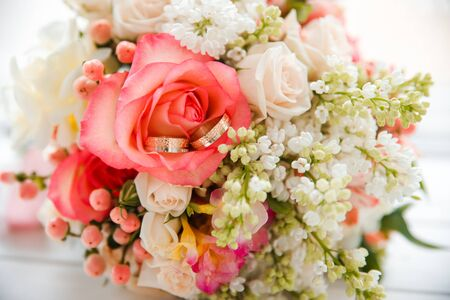 Wedding pink delicate bouquet of roses. Wedding floristry.