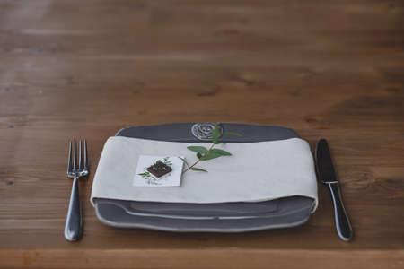 Wedding table setting. Eco wedding plates for the celebration.