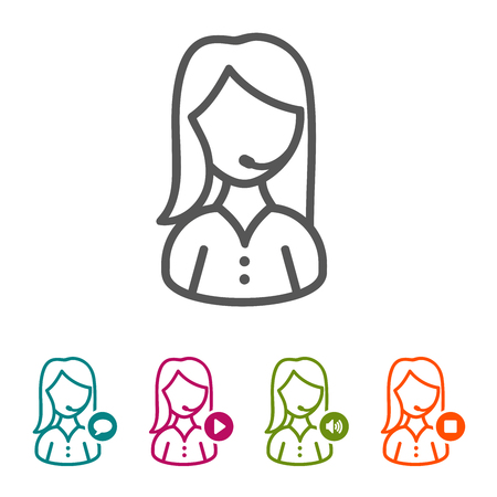 Vector call center operator icons in thin line style and flat design. Vectores