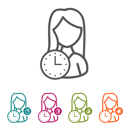 Vector woman with clock icons in thin line style and flat design.