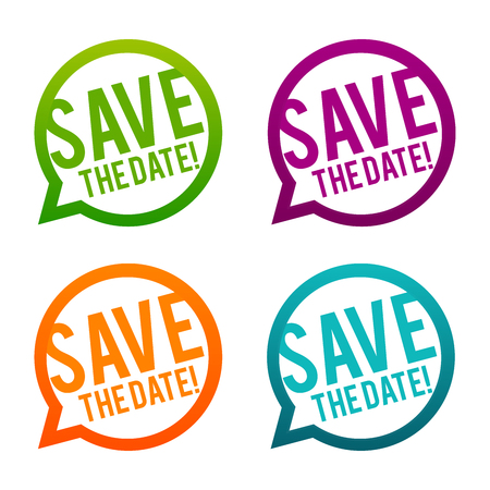 Save the date round buttons. Circle Eps10 Vector.