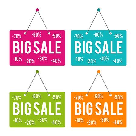Big Sale hanging Door Sign. Eps10 Vector.