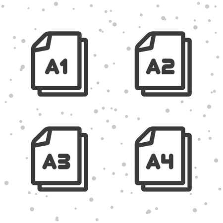 Paper size A1, A2, A3, A4, icons document symbol. Illustration