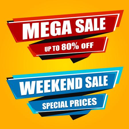 Mega Sale origami banners 向量圖像