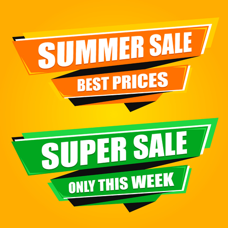 Summer Sale origami banners 向量圖像