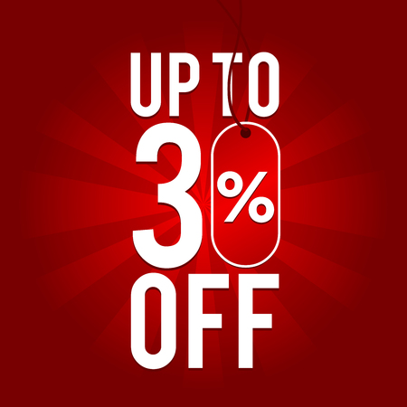 Sale up to 30% off on red background.