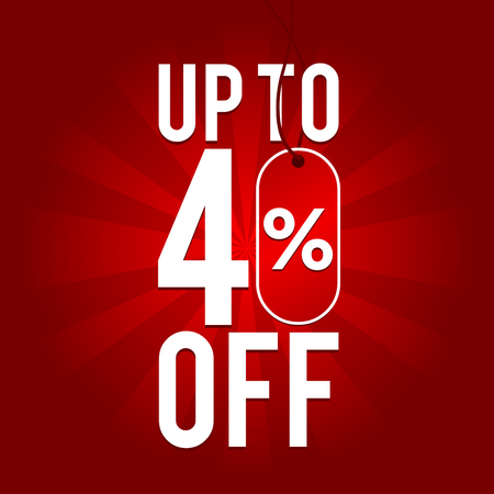Sale up to 40% off on red background.