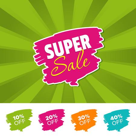 Super sale color banner and 10%, 20%, 30% & 40% Off Marks. Vector illustration
