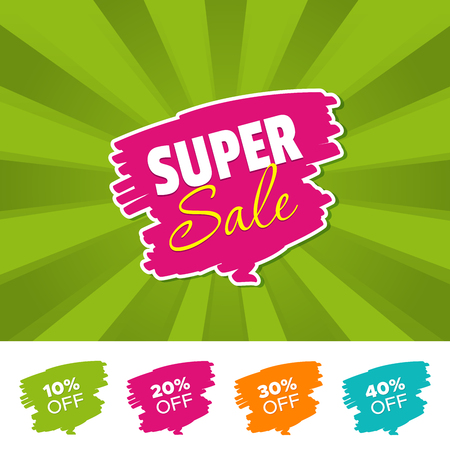 Super sale color banner and 10%, 20%, 30% & 40% Off Marks. Vector illustration