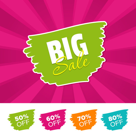 Big sale color banner and 50%, 60%, 70% and 80% Off Marks. Vector illustration. Illustration