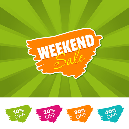 Weekend sale color banner and 10%, 20%, 30% and 40% Off Marks. Vector illustration.