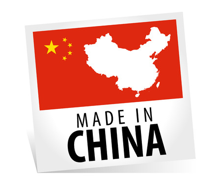 Made in China with flag Illusztráció