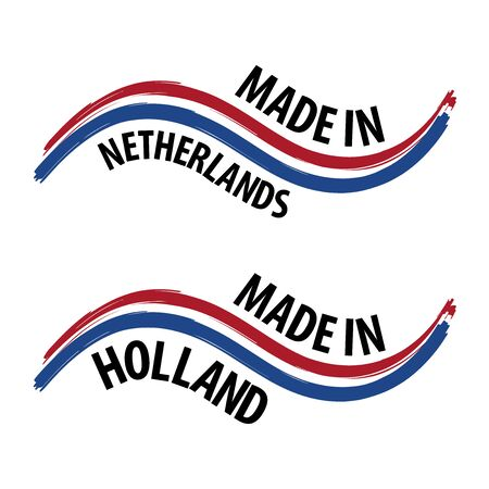Made in Netherlands with Flag Quality Label on the white Background.