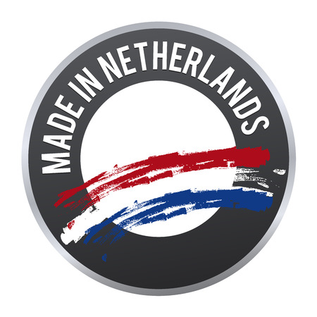Made in Netherlands label badge icon certified illustration. Illustration