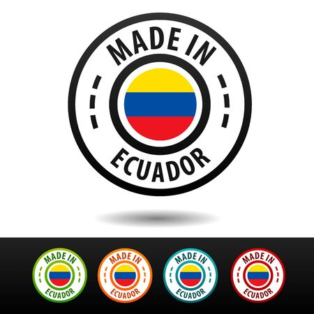 Made in Ecuador badges with flag. Flat Eps10 Vector.