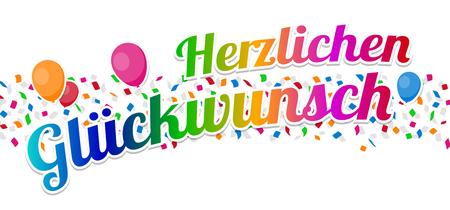 Herzlichen Glückwunsch - Happy Birthday Vector.